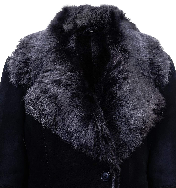 Infnity Leather Abrigo de Gamuza Negro de Piel de Oveja Merina de Gamuza Brissa con Cuello de Toscana para Mujer: Amazon.es: Ropa y accesorios