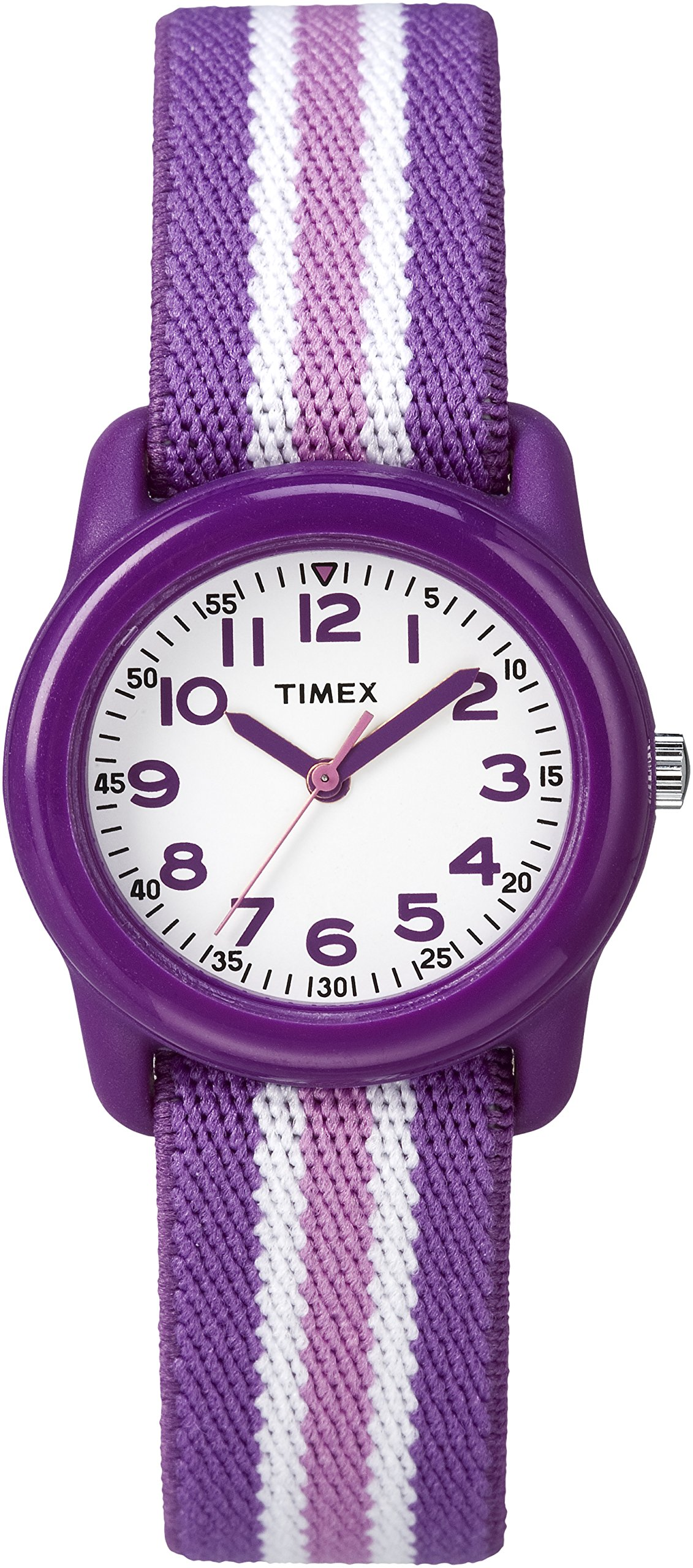 Timex Girls TW7C06100 Time Machines Analog Resin Purple/Pink Stripes Elastic Fabric Strap Watch by Timex