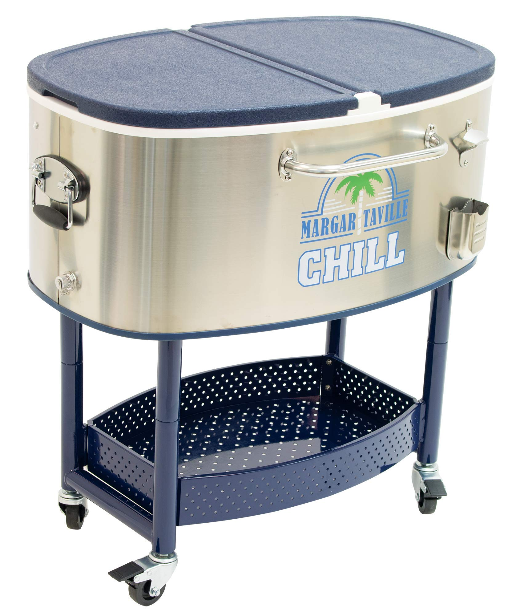 Margaritaville 77 Quart Oval Stainless Steel Outdoor Cooler with Wheels - Margaritaville Chill by Margaritaville Outdoor