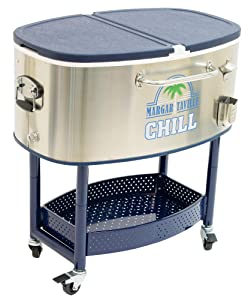 Margaritaville 77 Quart Oval Stainless Steel Outdoor Cooler with Wheels - Margaritaville Chill