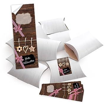 10 Kleine Geschenkschachteln Geschenk Boxen Kartons Weiß 145 X 105 3 Cm Mit Aufkleber Banderole Frohe Weihnachten Mit Stroh Schmuck Selber