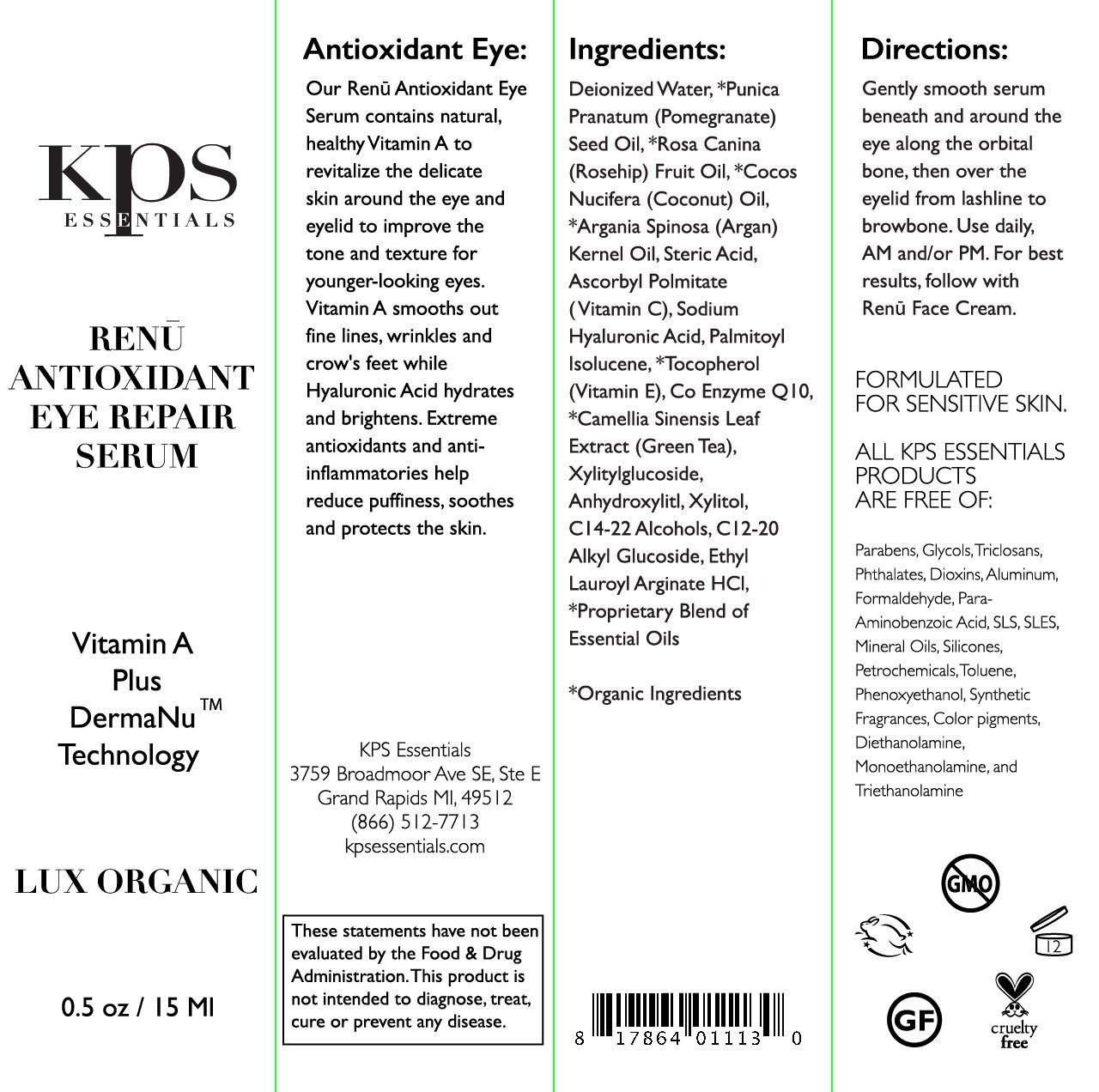 Antioxidant Eye Serum with Retinol, Hyaluronic Acid, Vitamin A C – .5oz Repair Sun Damage, Fade Age Spots Dark Circles, Reduce Puffy Eyes Wrinkles Improve Skin Texture By KPS Essentials