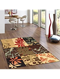 Rubber Backed 2 Piece Rug SET Italian Floral Panel Boxes Brown Multicolor  Non Slip