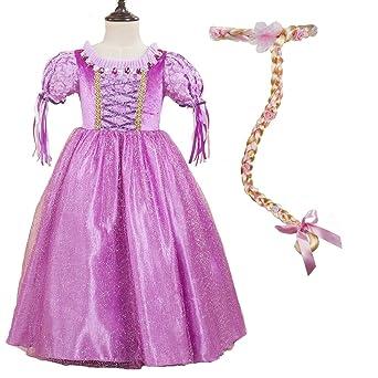 5b036f0f6c1f5 ラプンツェル 髪長姫 コスプレ 衣装 衣裳 仮装 コスチューム 2点セット (ワンピース ドレス 髪飾り