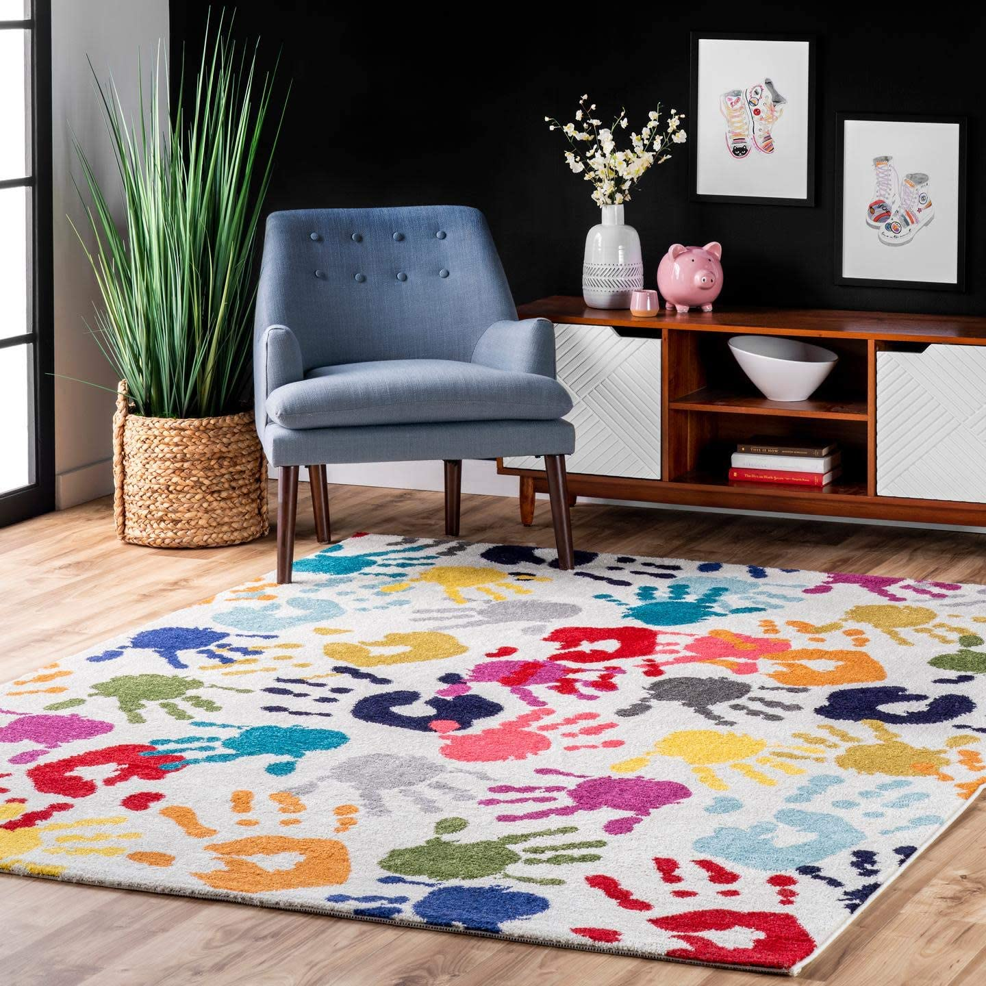 Amazon Com Nuloom Pinkie Handprint Nursery Kids Area Rug 5 X 8 Multi Furniture Decor