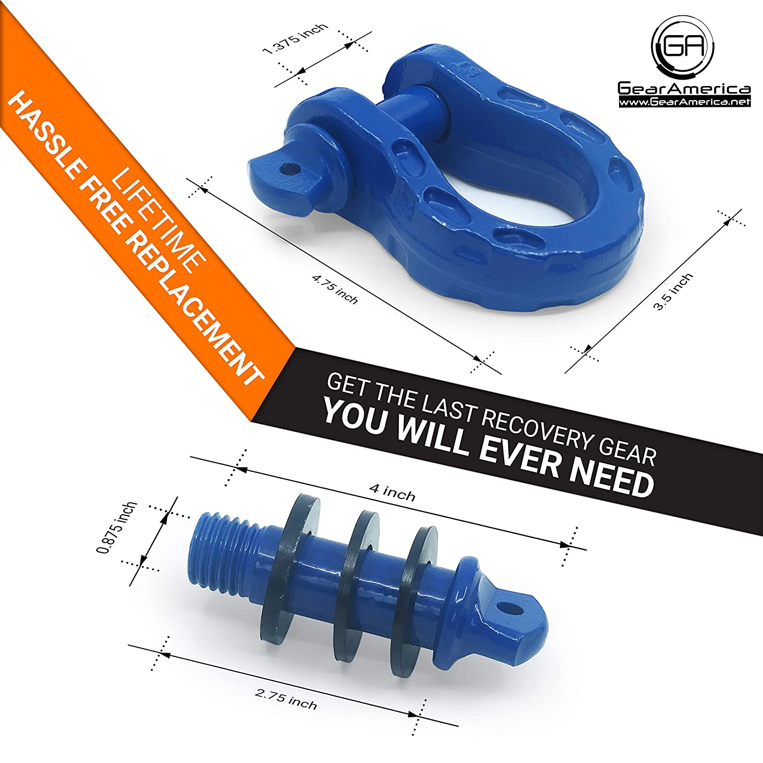 Washers 34 Ton 2PK Tested Strength 3//4 Shackle GearAmerica Mega Duty D Ring Shackles Blue | 68,000 lbs 7//8 Pin Securely Connect Tow Strap or Winch Rope to Jeep for Off-Road 4x4 Recovery