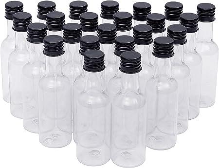 Mini Botellas Licor (Pack de 48) - Botellas Vacias 55ml con Tapa Negra y Embudo para Verter el Líquido - Mini Botellas para Bodas, Regalos Fiestas, Artes, Pintar y Eventos - Botellas Pequeñas
