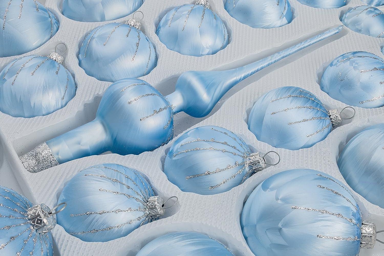 Eisblaue Christbaumkugeln.39 Pcs Glass Christmas Ball Set In Ice Blue Silver Rain