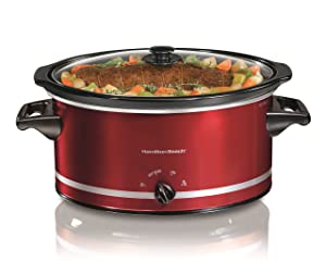 Hamilton Beach 400943318406 33184 Oval Slow Cooker, 8-Quart, Red