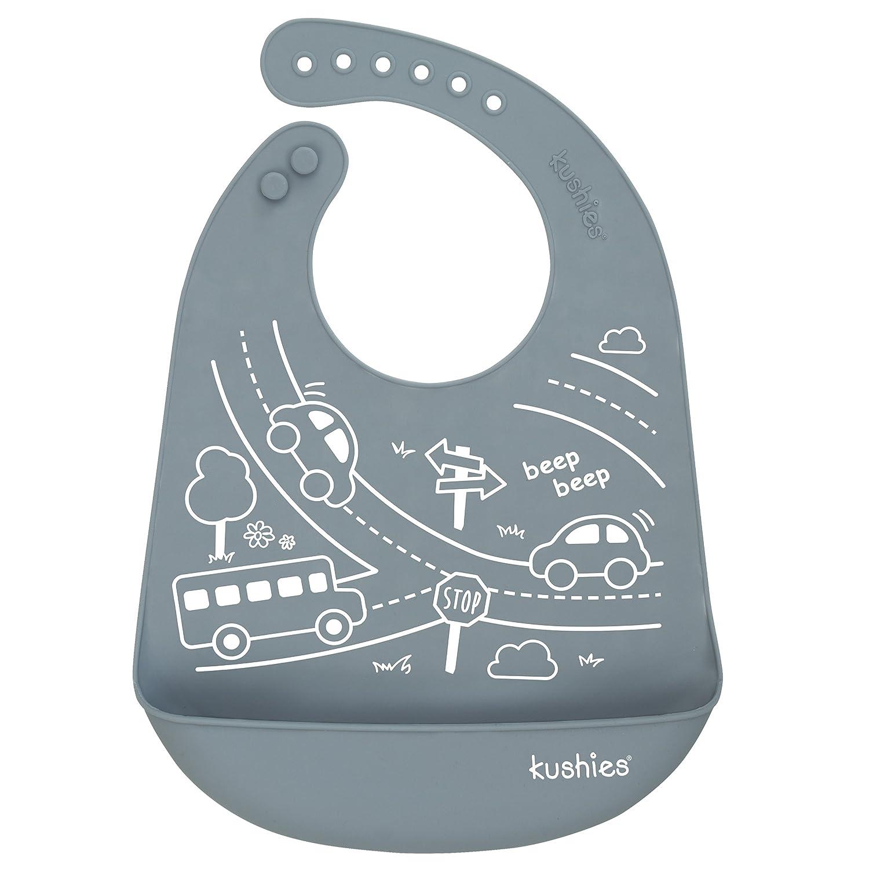 Kushies Silicatch Super Soft Silicone Waterproof Feeding Bib with Catch All/Crumb Catcher, Pebble Grey, 6m + Kushies Baby B306-B02