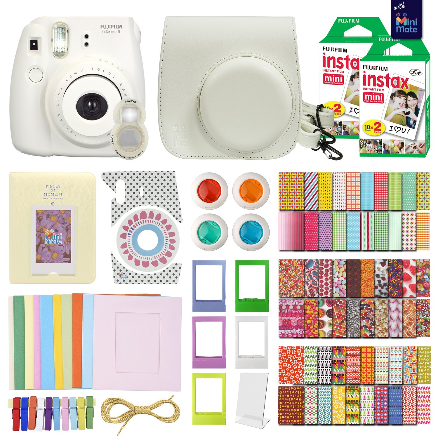MiniMate Instax Mini 8 Camera with 40 Instax Film and Accessory Bundle, White