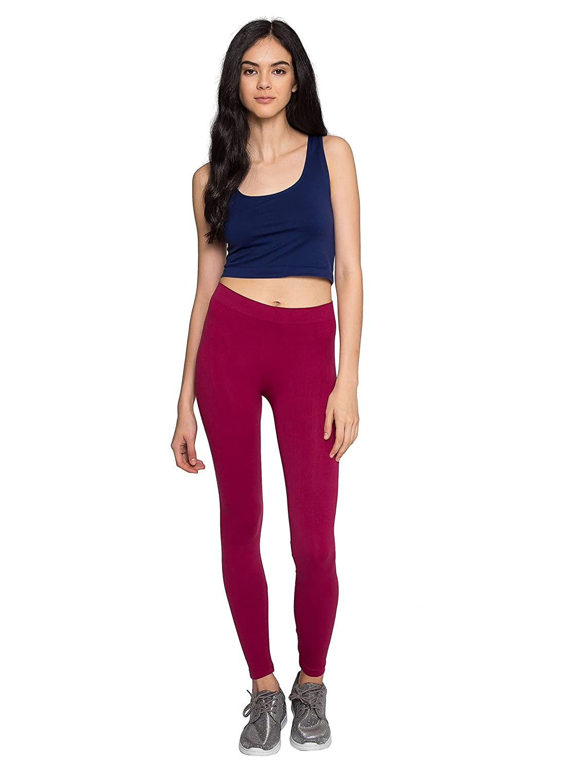 WET SEAL MIST BASIC LEGGINGS IN WINE - BURGUNDY - OS