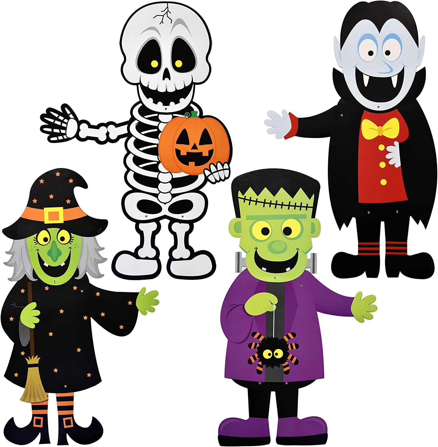 "Gift Boutique 36"" Halloween Decoration Hanging Wall Jointed Figures, Pack of 4 Signs Skeleton, Witch, Frankenstein, and Zombie Banners for Indoor and Outdoor Party Decor"