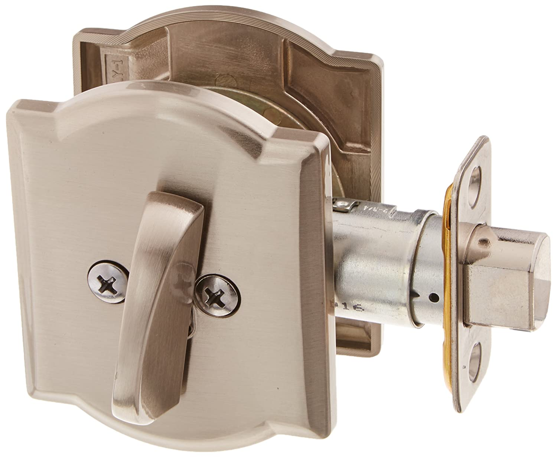 Satin Nickel Schlage Lock Company B60CAM619 Single Cylinder Grade 1 Deadbolt with Decorative Camelot Rose