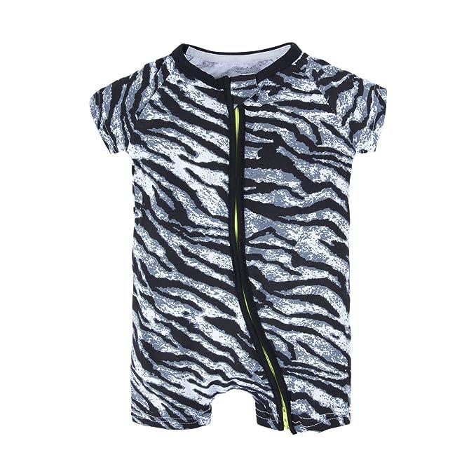 74095d1d8606 BIG ELEPHANT Baby Boys 1 Piece Summer Short Sleeve Pajama Graphic Zipper  Romper Black Q39