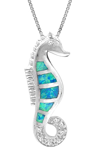 Amazon sterling silver seahorse necklace pendant cz accented sterling silver seahorse necklace pendant cz accented with simulated blue opal and 18quot mozeypictures Images