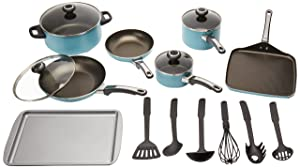 Farberware High Performance Nonstick Aluminum 17-Piece Cookware Set, Aqua