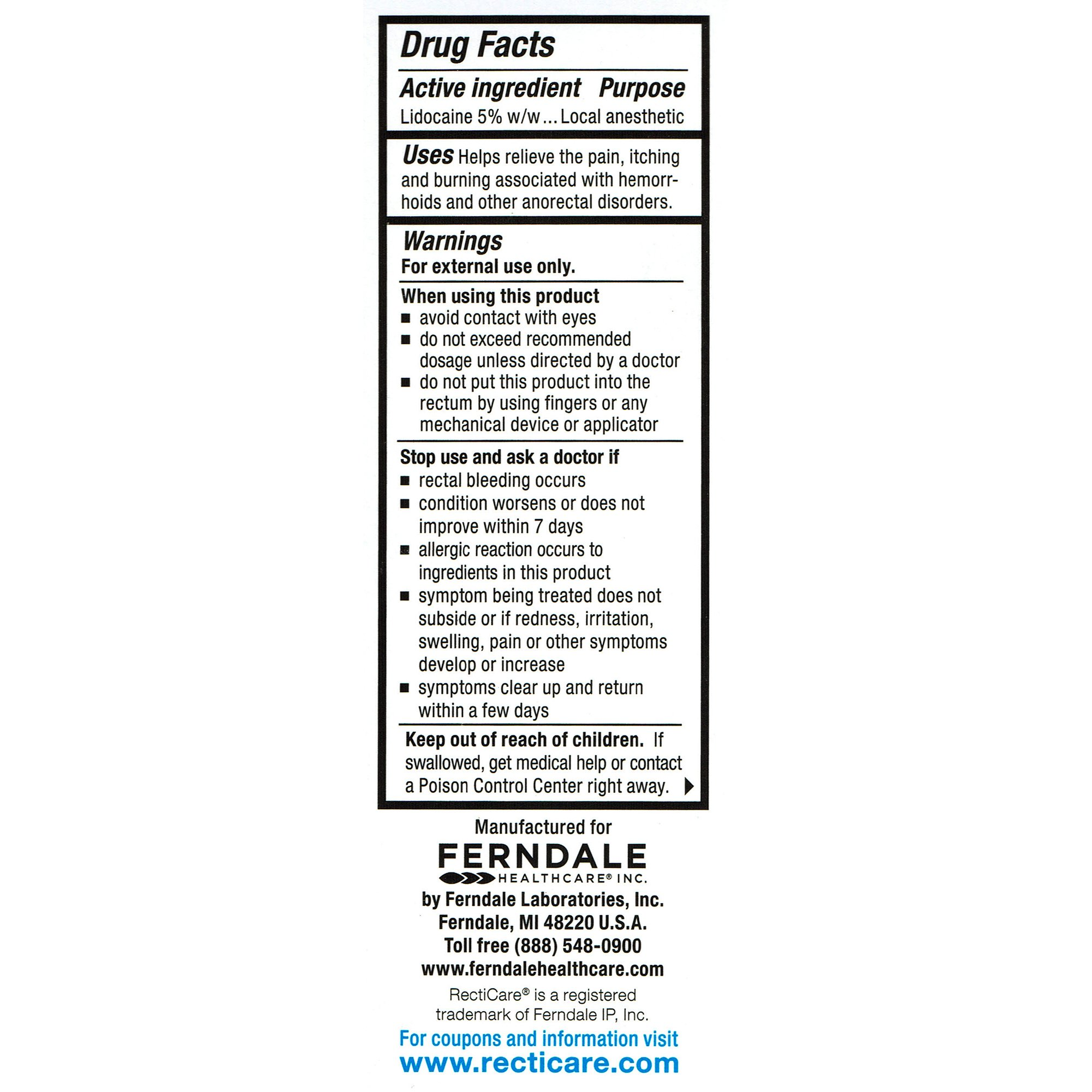 RectiCare Anorectal Lidocaine 5% Cream: Treatment for Hemorrhoids & Other Anorectal Disorders - 15g Tube by Recticare (Image #3)