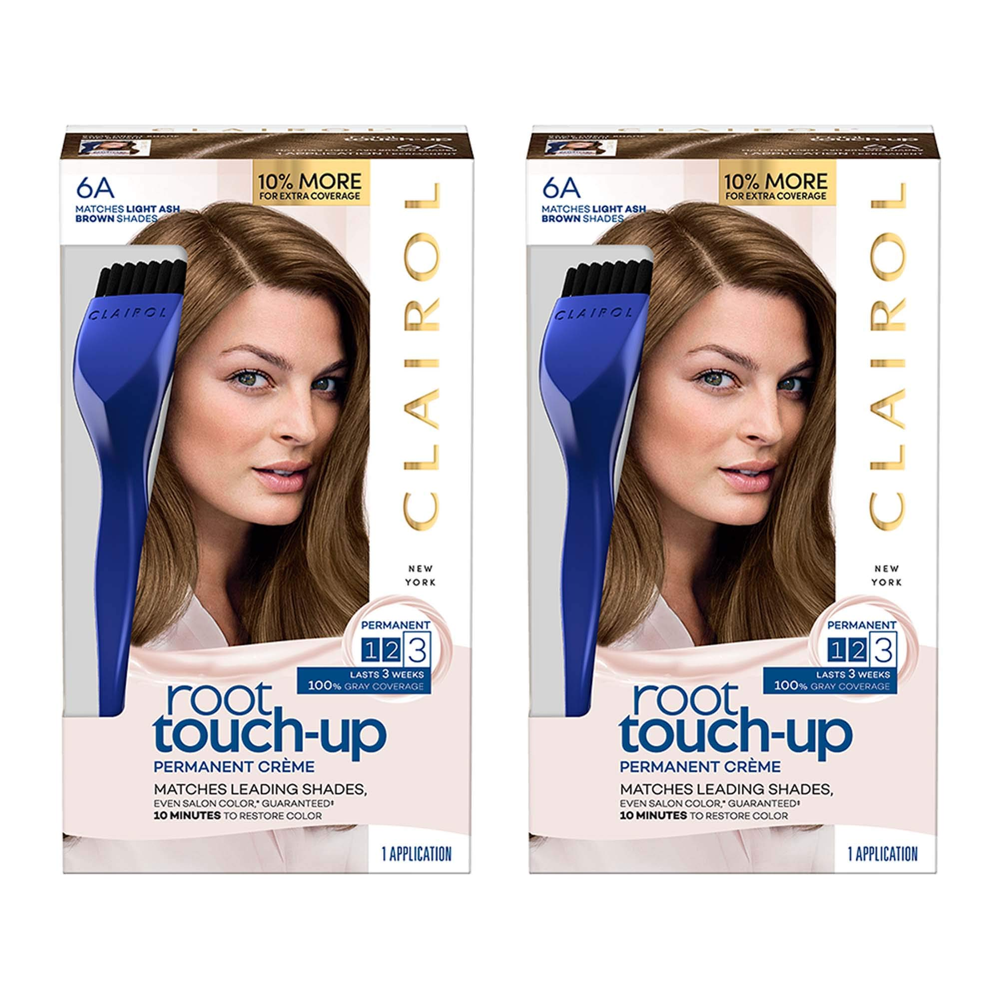 Clairol Nice 'N Easy Permanent Hair Color Root Touch-Up Kit, 6A Matches Light Ash Brown Shades (Pack of 2) (Packaging May Vary) by Clairol