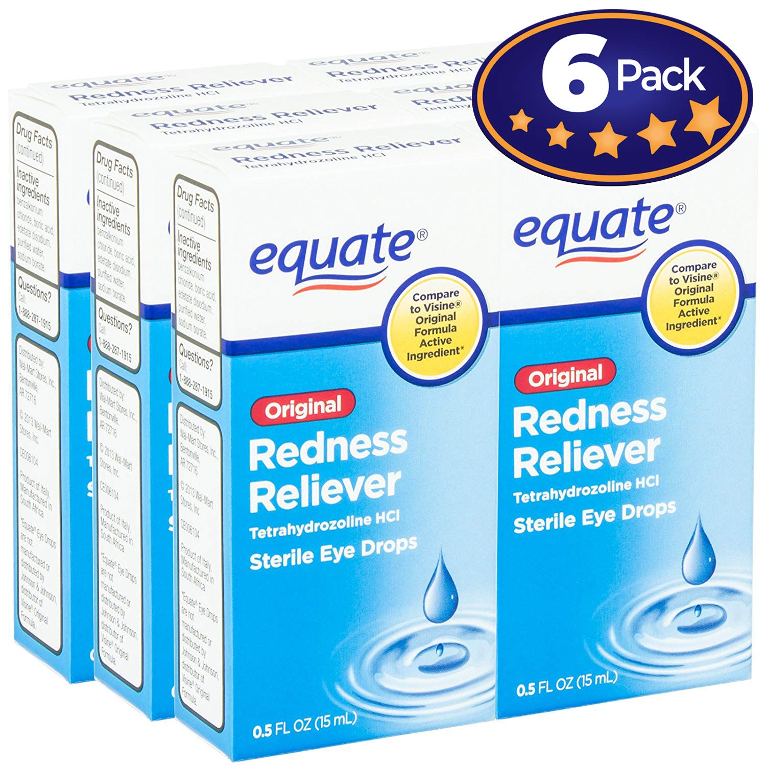 Equate Redness Reliever Sterile Eye Drops 0.5oz Dropper Bottle 6 Pack. Lubricant Gives Long Lasting Relief for Burning, Itching, & Dryness Fast! Cures Red Eyes with Active Ingredient Tetrahydrozoline.