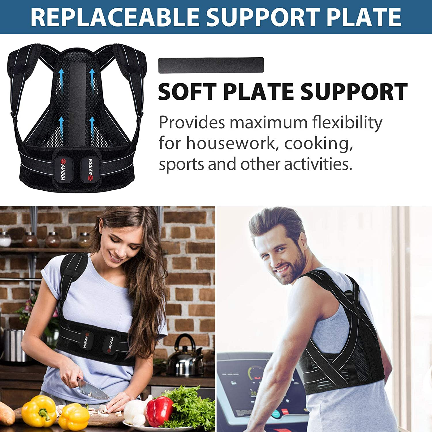 AVIDDA Posture Corrector for Men and Women, Upgraded Back Brace with Replaceable Support Plates, Adjustable and Breathable Back Support for Back, Neck and Shoulder Pain Relief: Industrial & Scientific