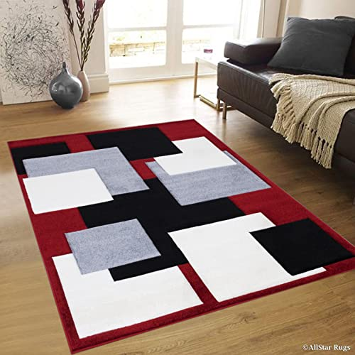 Allstar 8×11 Red Modern and Contemporary Hand Carved Rectangular Accent Rug with Ivory, Grey and Black Geometric Over Lapping Square Design 7 1 x 10 5