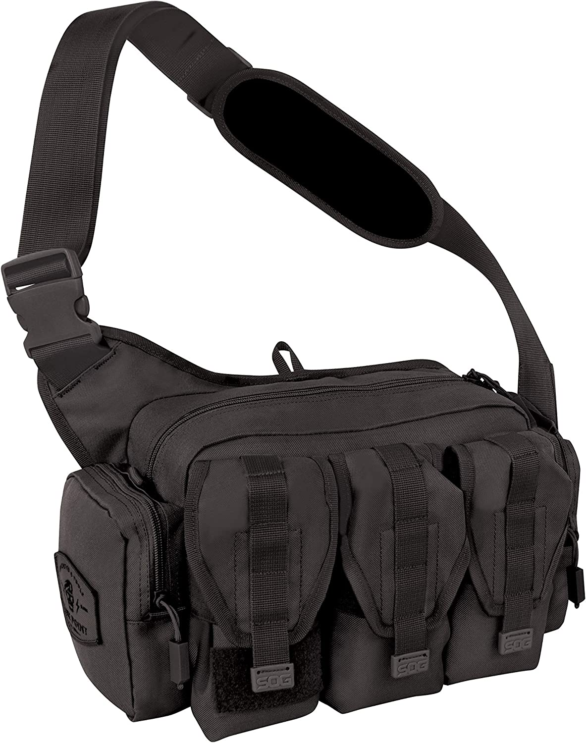 This is a picture of a black tactical range padded shoulder bag with three front pockets in velcro-type closure.