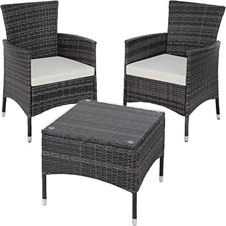 TecTake Set de giardino in poly rattan | 2 sedie e tavolino con piano in vetro | Robusto telaio in acciaio disponibile in diversi colori (Grigio |