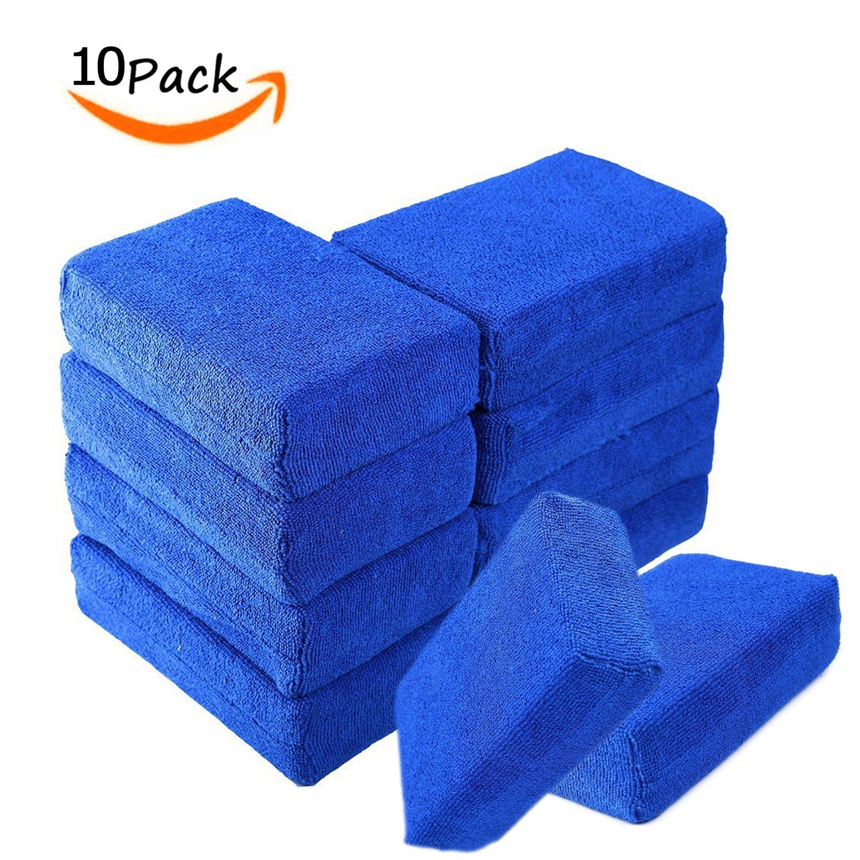 Microfiber Sponge Applicator,Car Wash Kit,Premium Grade Microfiber Applicator Pad for House & Kitchen Cleaning,Blue,Pack of 10 Pcs