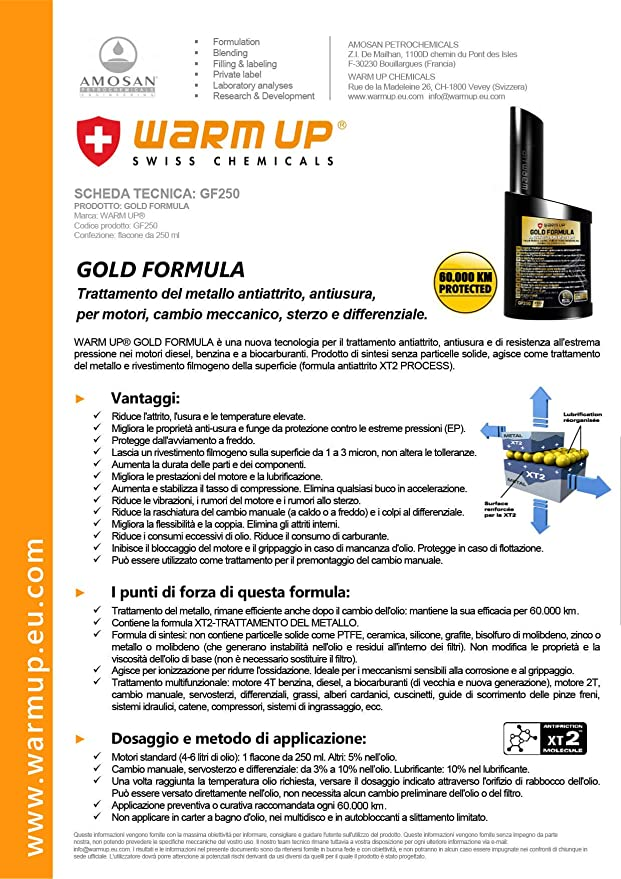 Warm Up Gold Formula 250 ml Anti Fricción Nanotecnologia XT2 Nueva Formula.: Amazon.es: Coche y moto