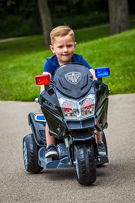 Kid Trax Police Rescue Motorcycle 6V Battery-Powered Ride-On Toy,Black,6 Volt