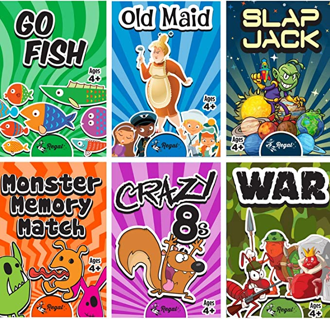 Hoyle 6 Pack Kid Card Game Crazy 8s-Go Fish-Old Maid-Memory-Matching-Slapjack
