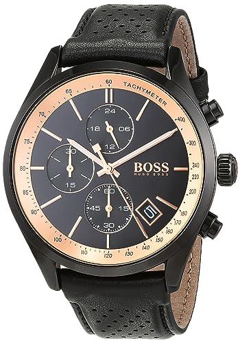 Hugo BOSS Reloj Cronógrafo para Hombre de Cuarzo con Correa en Cuero 1513550: Amazon.es: Relojes