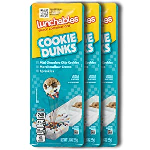 Lunchables Snacks Cookie Dunks Dunking Snack Packs (3 Pack) Kids On-the-Go Snacks with Mini Chocolate Chip Cookies, Marshmallow Creme, and Rainbow Sprinkles - 1.95 Ounce Packs