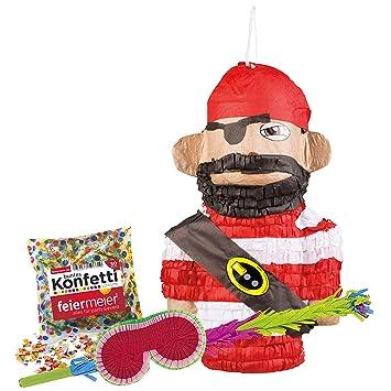 PartyMarty - Set de piñata Pirata (Raqueta + máscara + ...