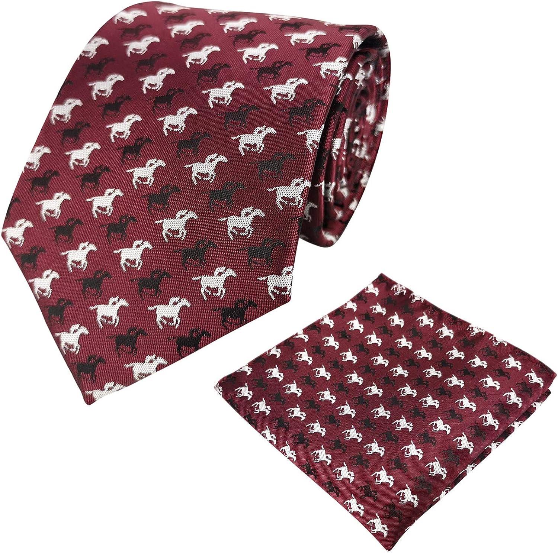KOOELLE - Corbata formal para hombre, diseño de caballos de carreras de jacquard tejido y bolsillo cuadrado para traje