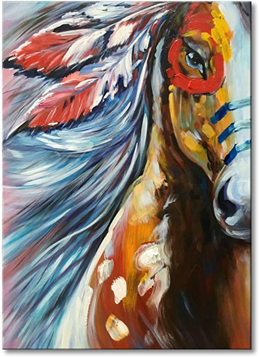 Modern Abstract Oil Painting Colorful Horse Canvas Room Wall Painting No Frame
