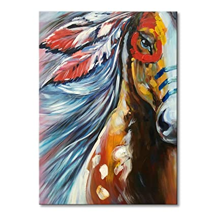 bd08940caa1 Amazon.com  Hand Painted Framed Horse Oil Painting Abstract Animal Canvas  Wall Art Contemporary Artwork 30x40 inch  Paintings