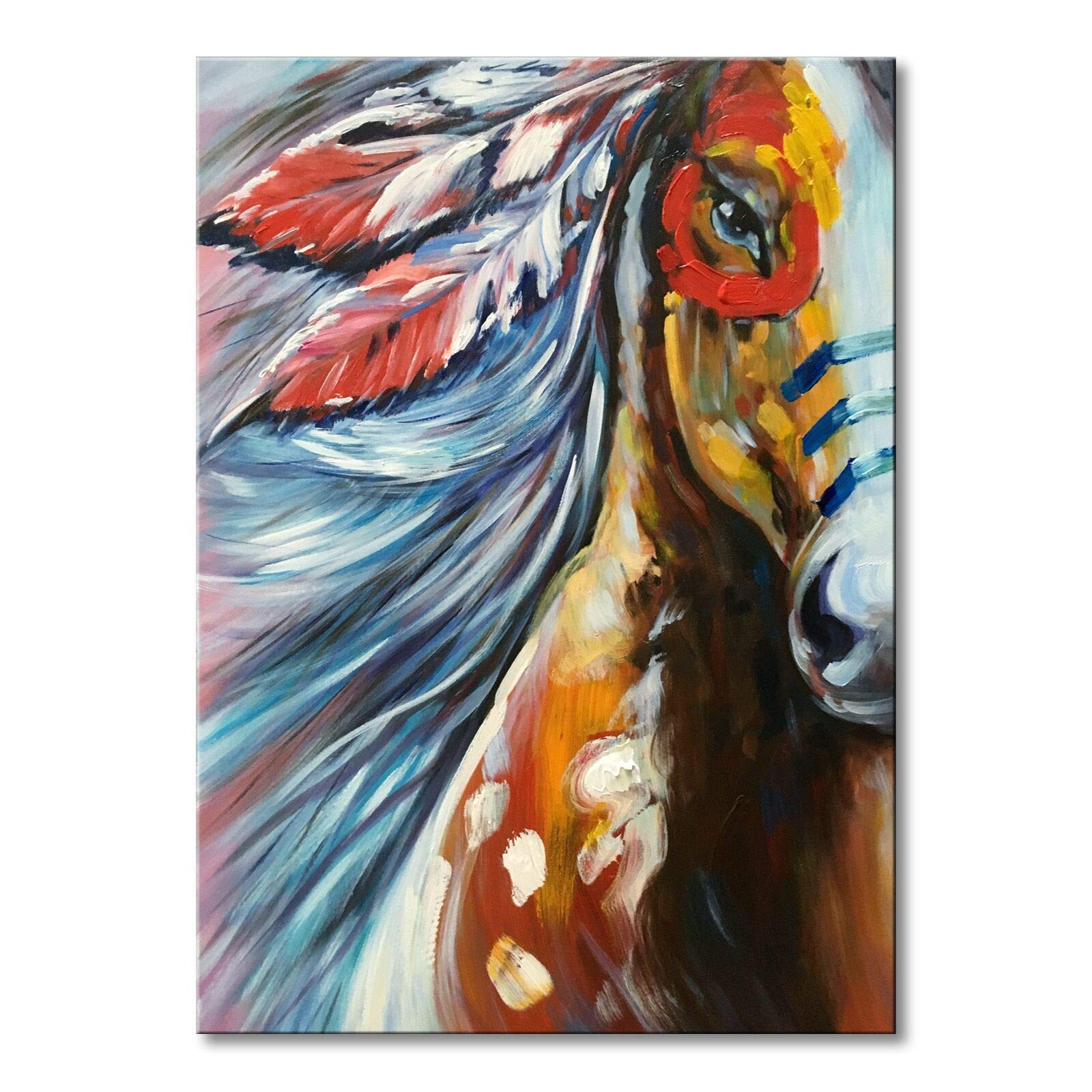 Hand Painted Modern Horse Oil Painting on Canvas Handmade Abstract Animal Wall Art for Decor (Horse, 24x36 inch)