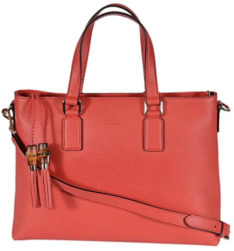fd7db17ba43 Gucci 365346 Medium Leather Bamboo Tassel Crossbody Handbag Purse (Coral Red)   Amazon.ca  Shoes   Handbags