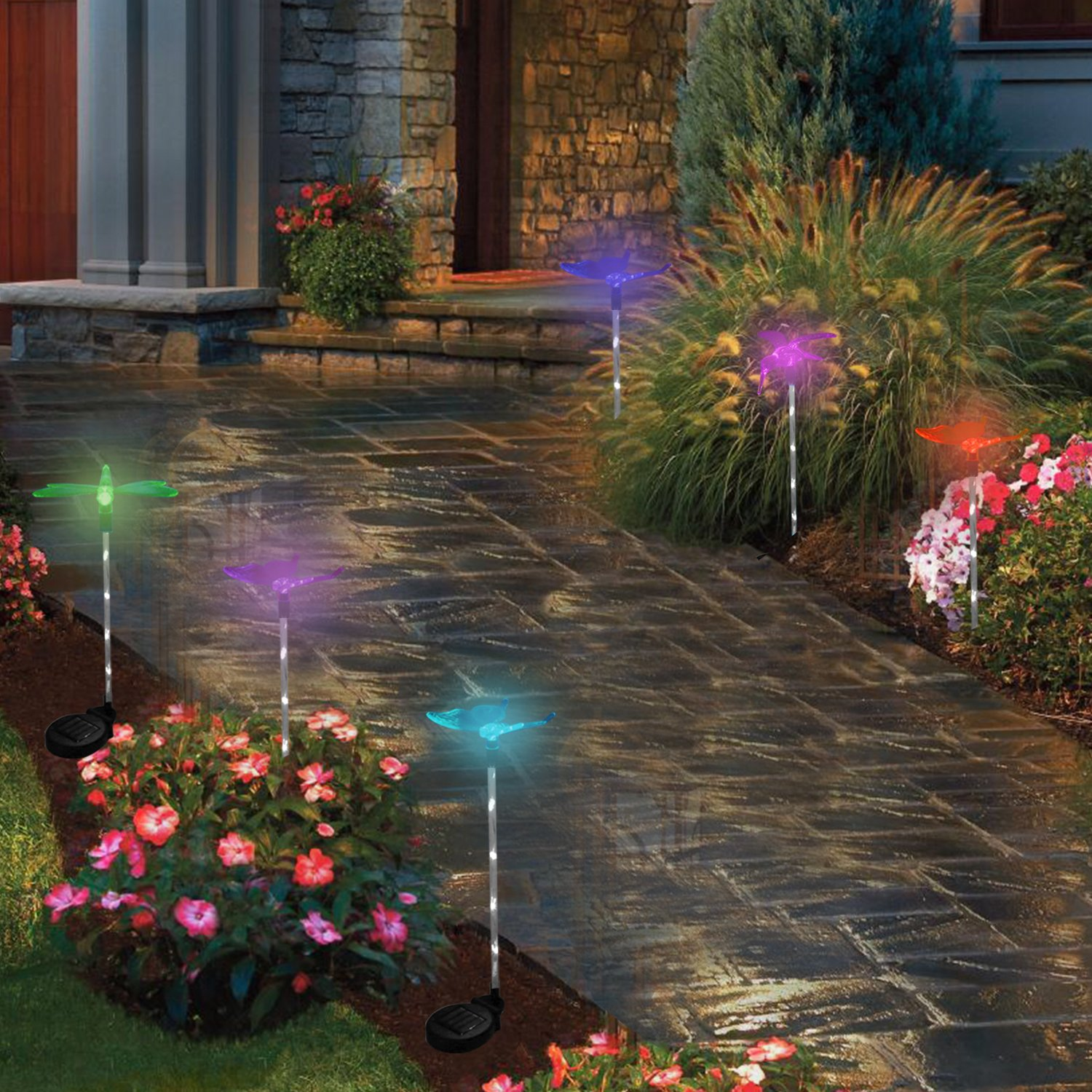 ArtDIY Outdoor Solar Garden Stake Lights - 3 Pack Solar Lights with Butterfly,Hummingbird,Dragonfly, Multi-color Changing LED Outdoor Decorative Solar Stake Lights for Garden, Patio, Backyard