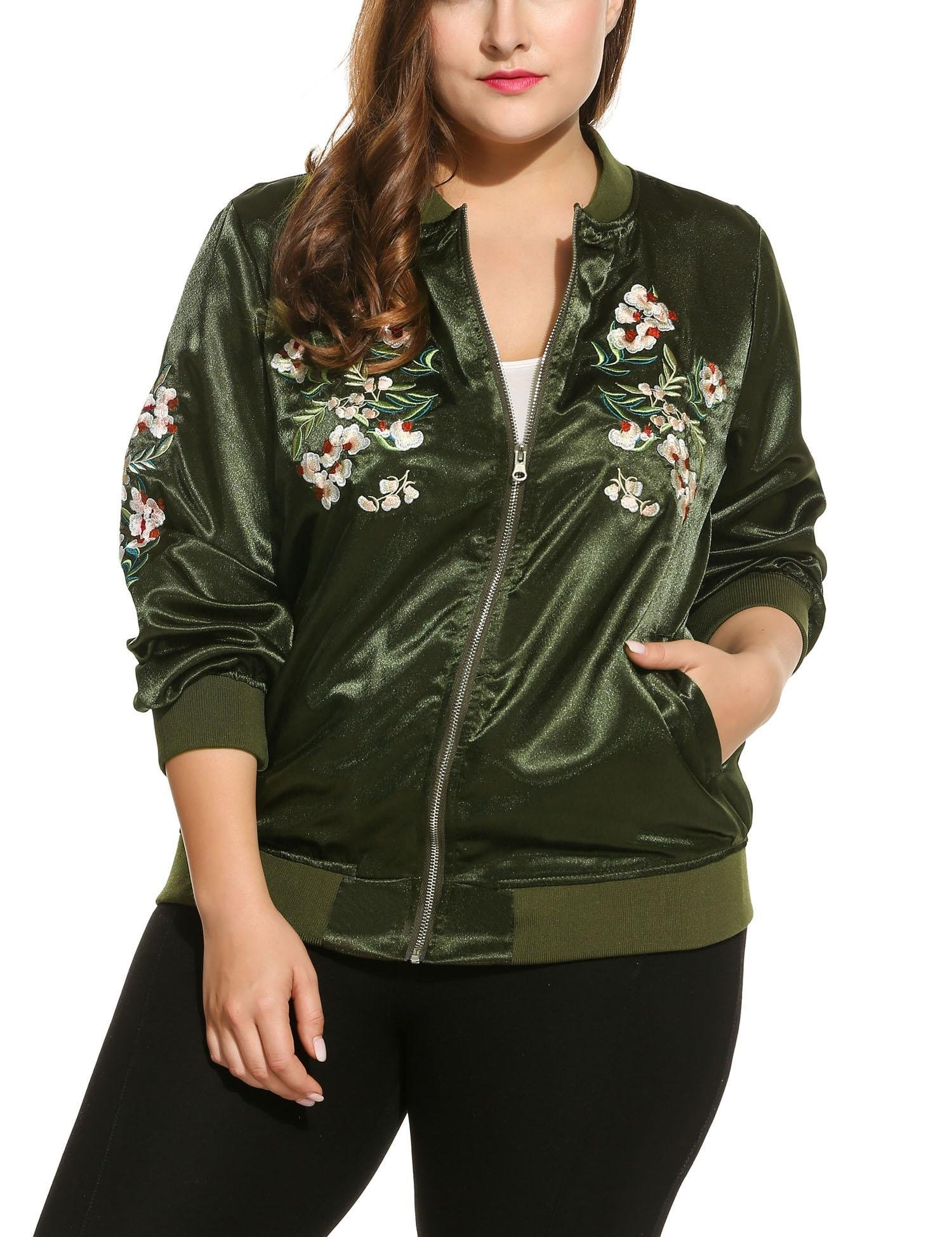 Beyove Women's Plus Size Vintage Embroidered Floral Phenix Casual Bomber Jacket