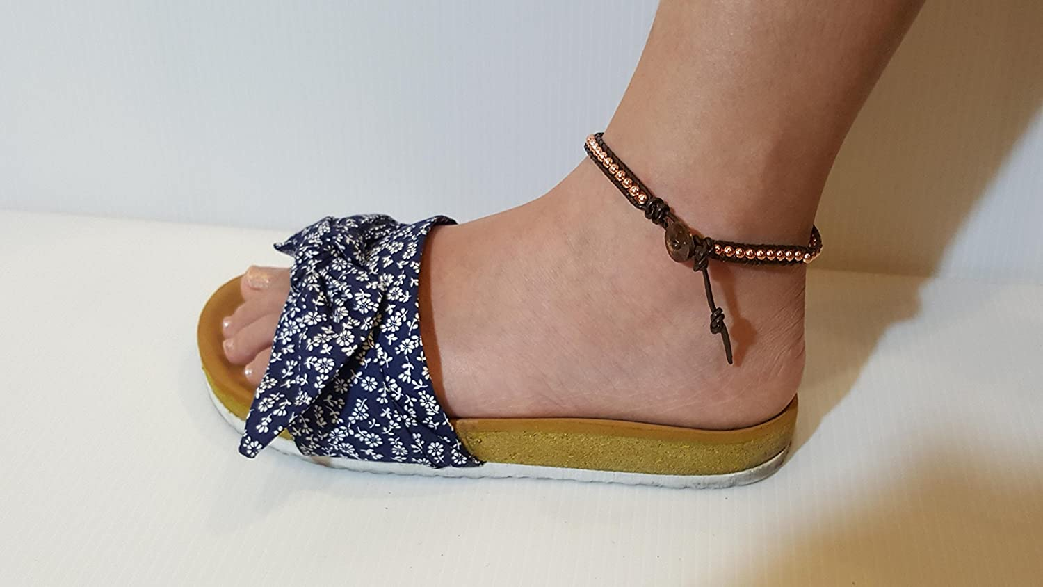 Infinity Trendy Anklet Rose Gold Bead Ankle Bracelet 10 Inches Woven with Leather Cord Beautiful Handmade Hippie Bohemian Style