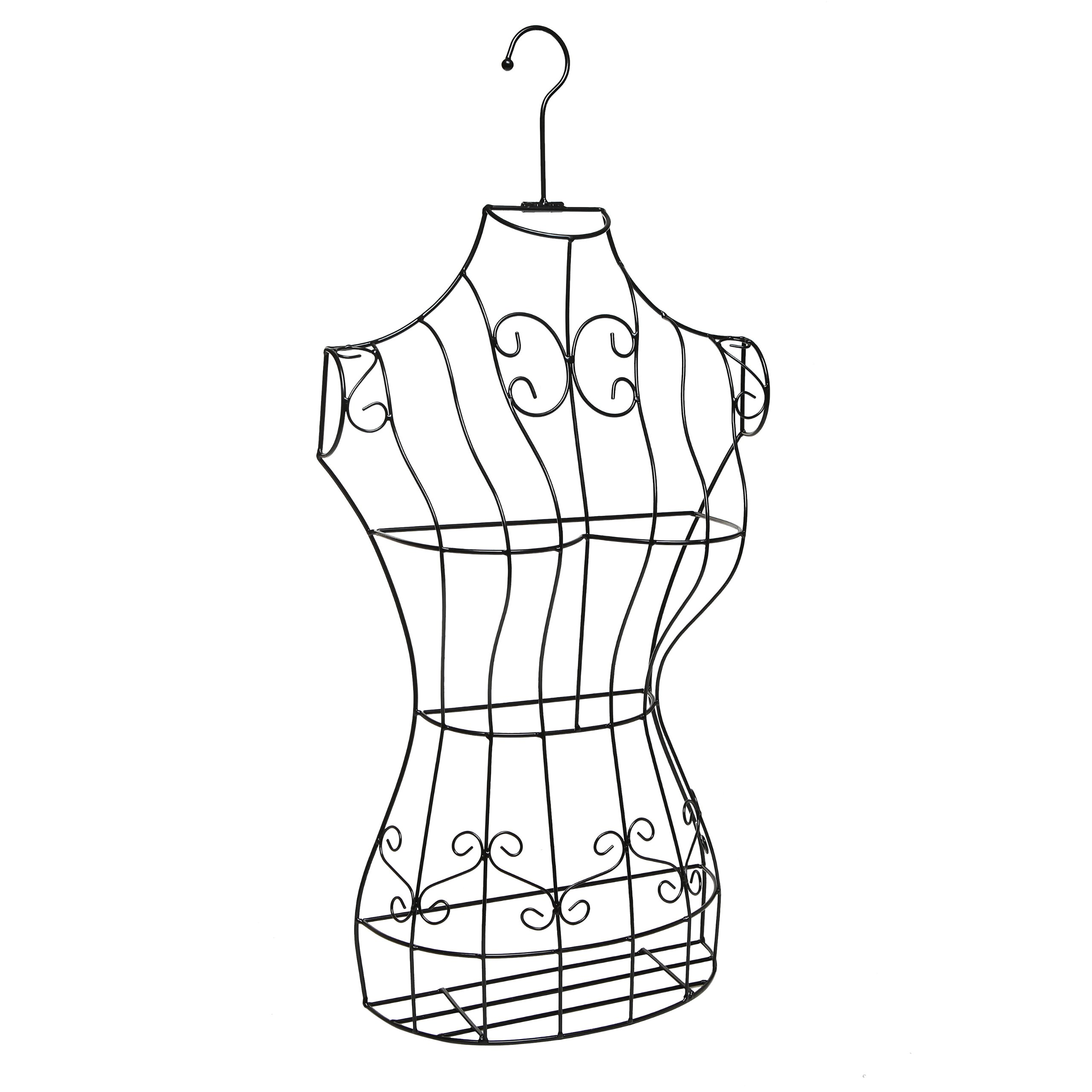 Black Metal Wire Frame Freestanding Display Stand/Hanging Dress Form Mannequin Decor w/Garment Bag by MyGift