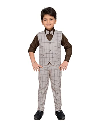 021de19e1 AJ Dezines Kids Indian Party Wear Bollywood Style Clothing Set For Boys -  Brown - (10-11 Years): Amazon.co.uk: Clothing