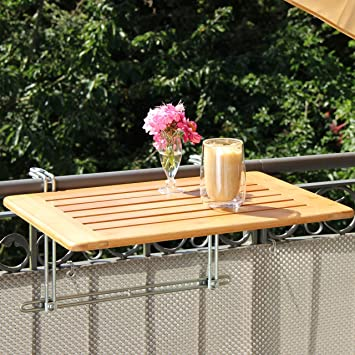 Table de balcon suspendue bambou x cm balcon table pliante en bambou with table escamotable balcon