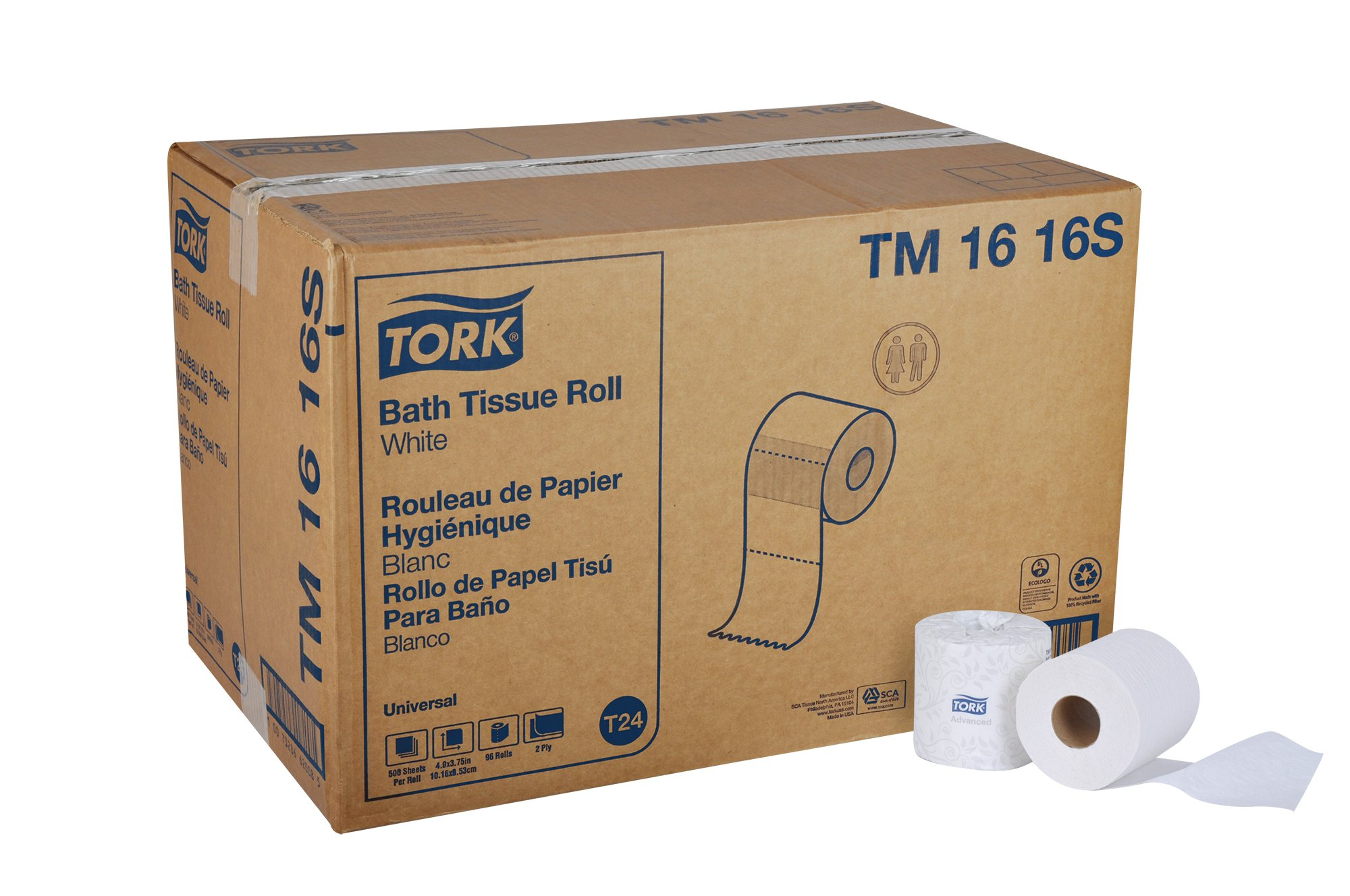 Tork Universal TM1616S Bath Tissue Roll, 2-Ply, 4'' Width x 3.75'' Length, White (Case of 96 Rolls, 500 per Roll, 48,000 Sheets)