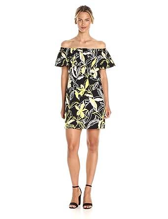 58b474b03eee Amazon.com  Splendid Women s Tropical Floral Dress Off Shoulder ...