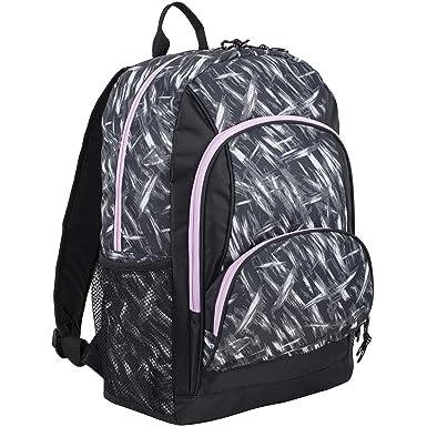 Eastsport Multi Pocket School Backpack, Black Brush Stroke Print Lilac Trim 3e3174ff8f