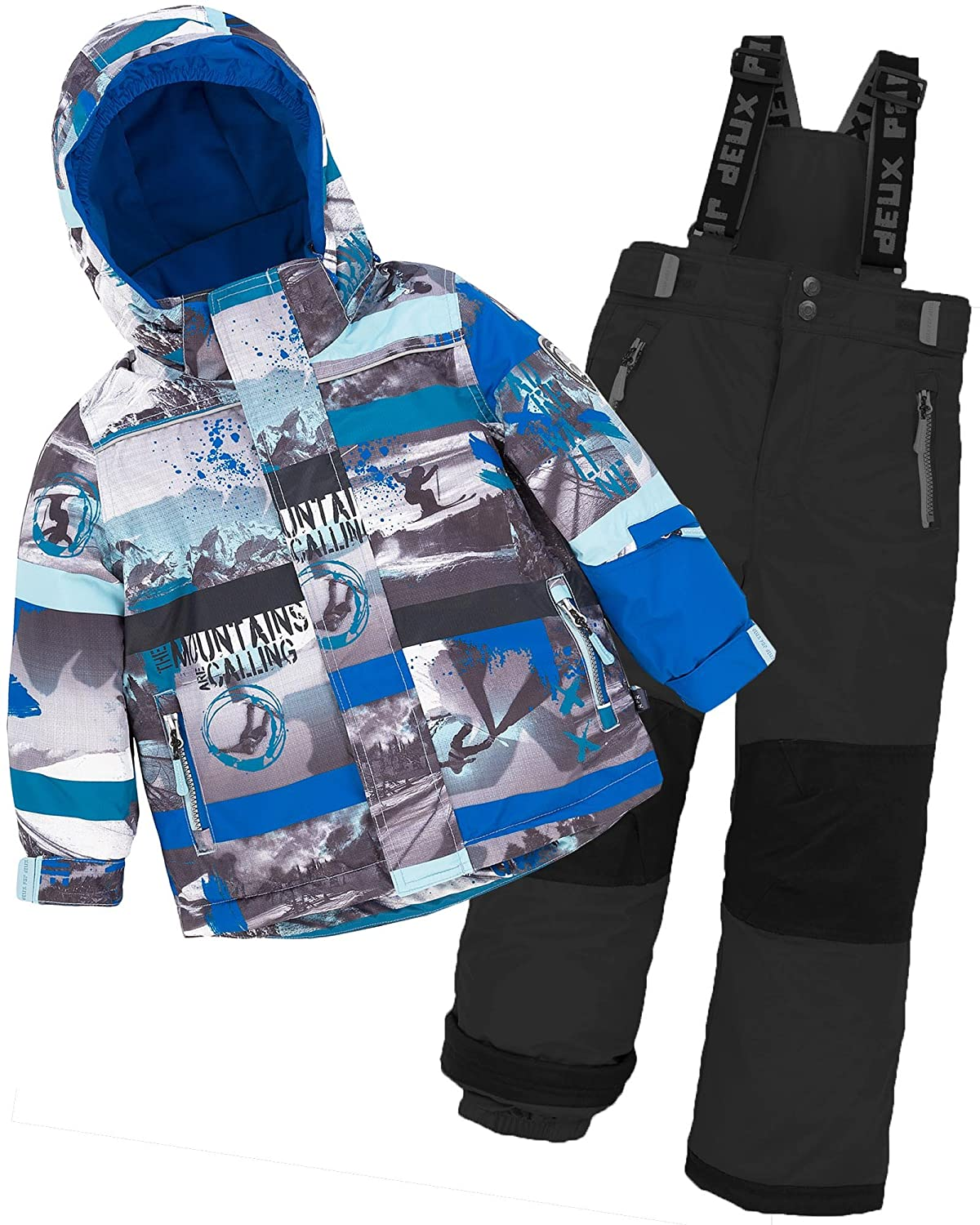 Deux par Deux Boys' 2-Piece Snowsuit Mountains are Calling Black, Sizes 4-14 Sizes 4-14 - 14